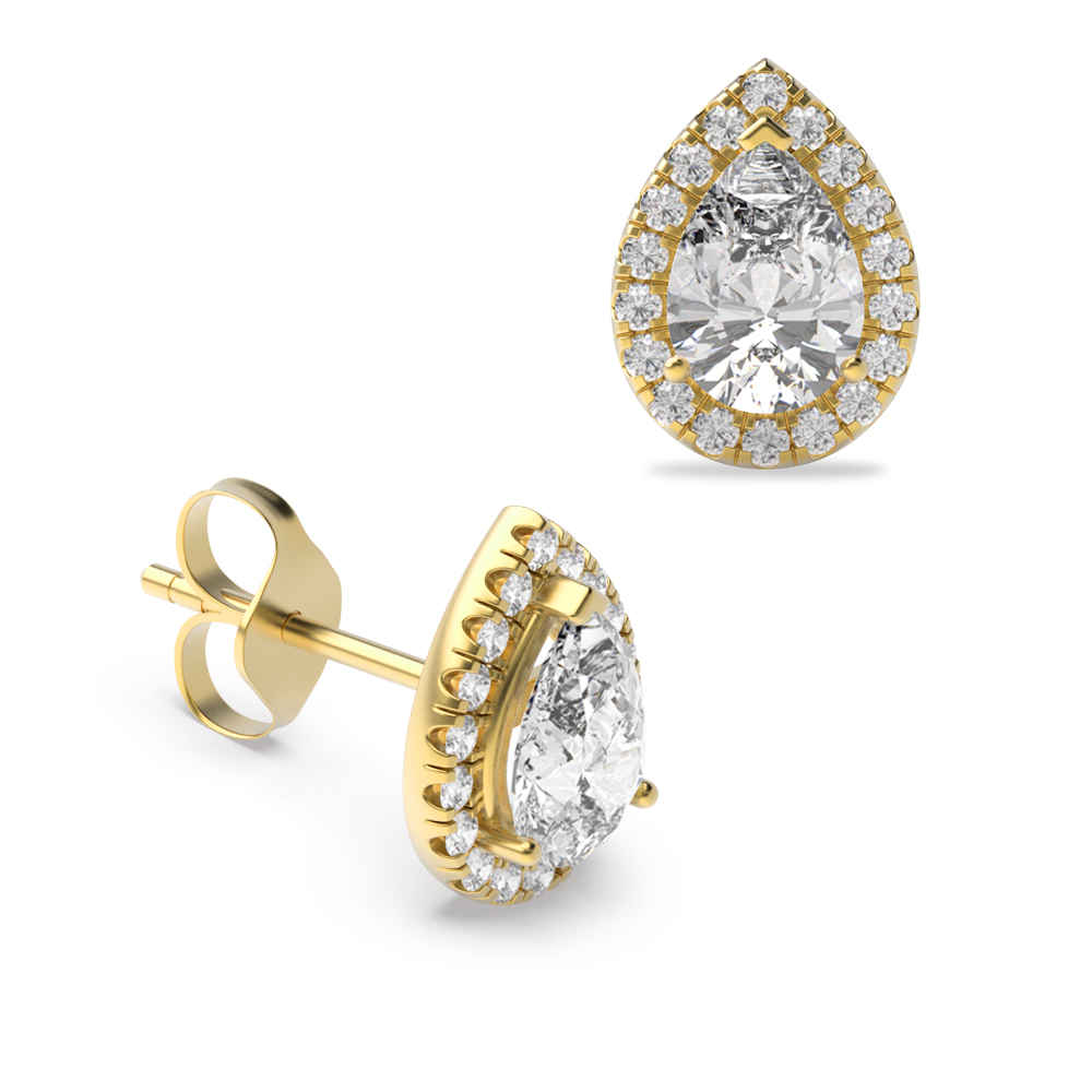 Pear Shape Tear Drop Halo Stud Diamond Earrings