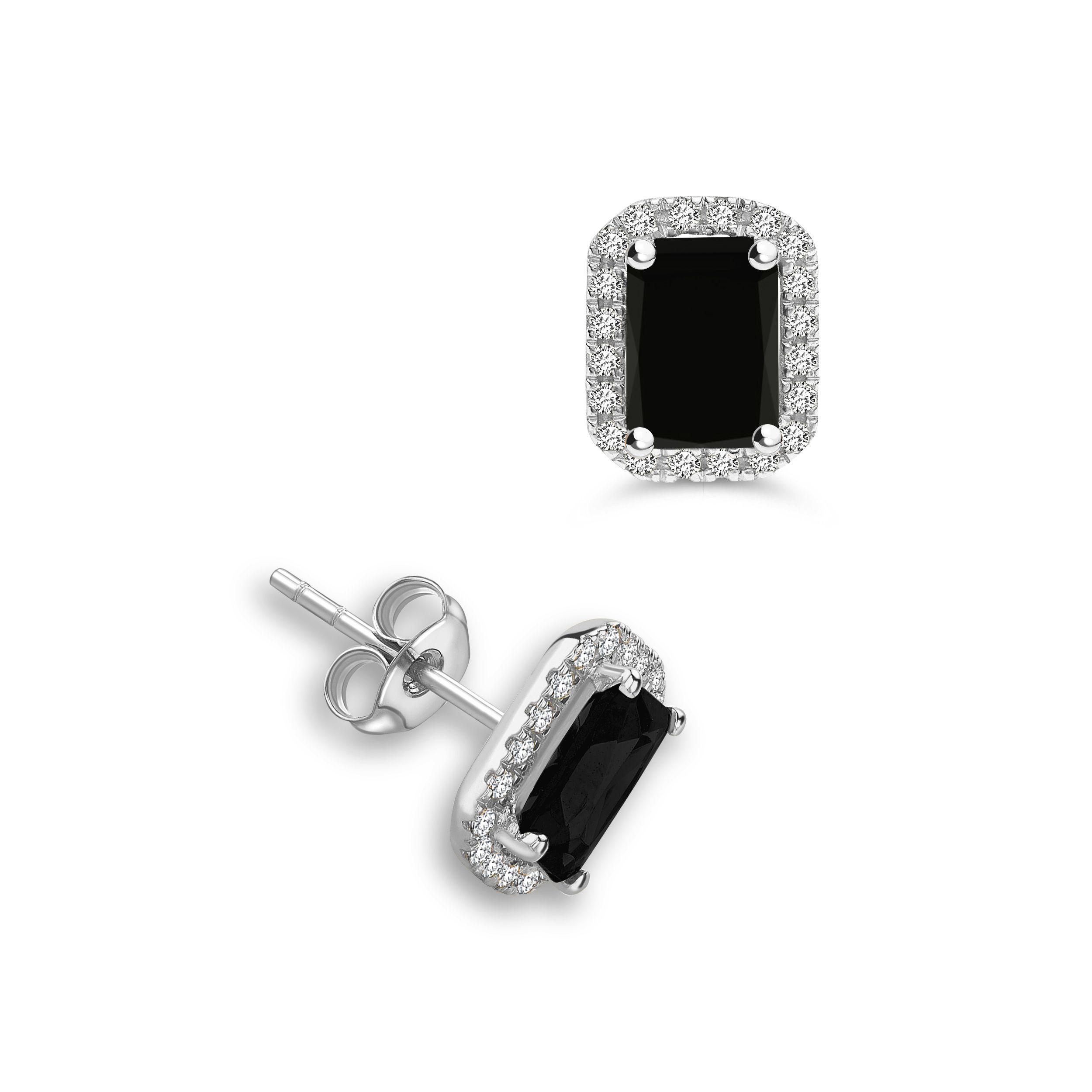 Emerald Shape Stud Halo Black Diamond earrings