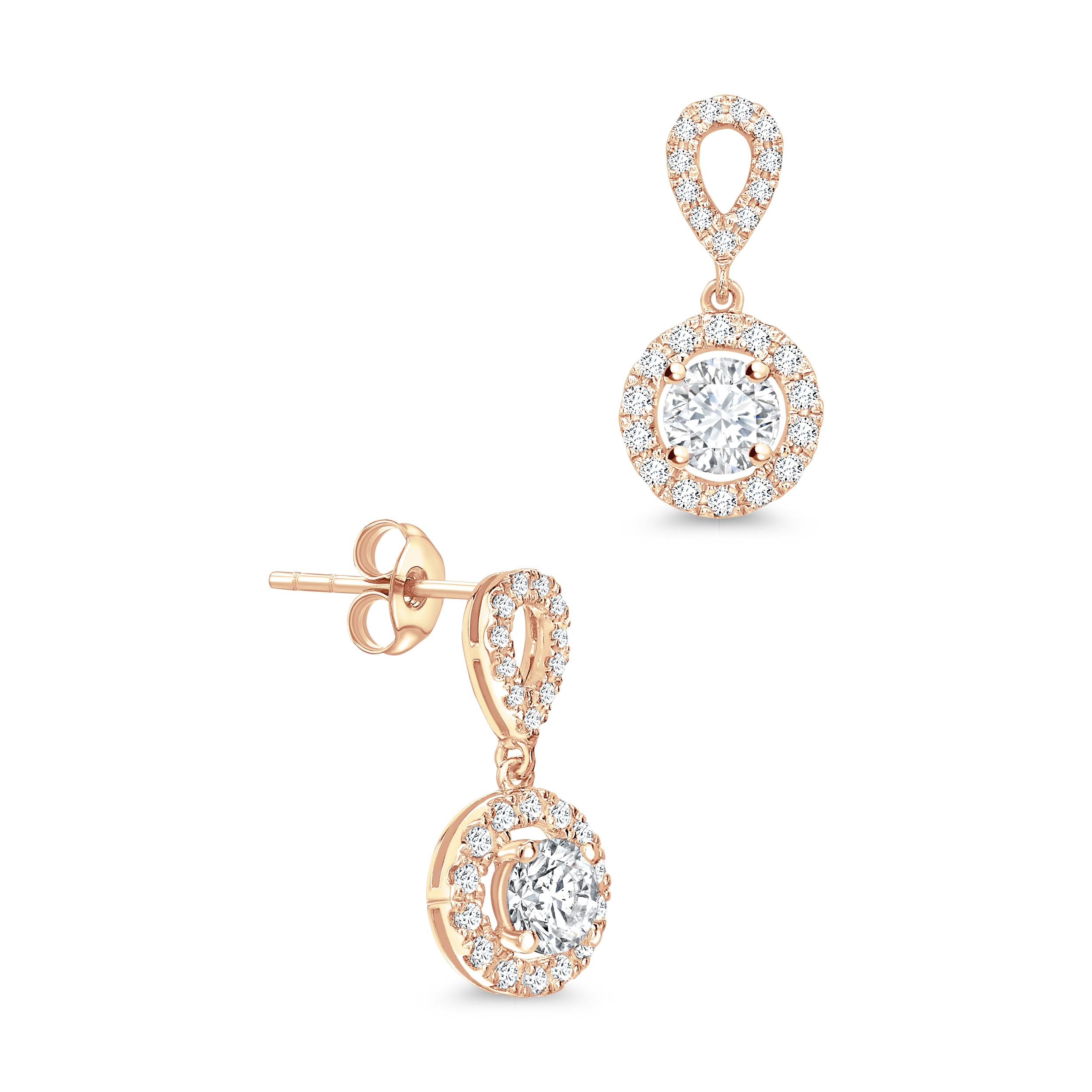 Round Shape Dangling Halo Stud Diamond Earrings Abelini