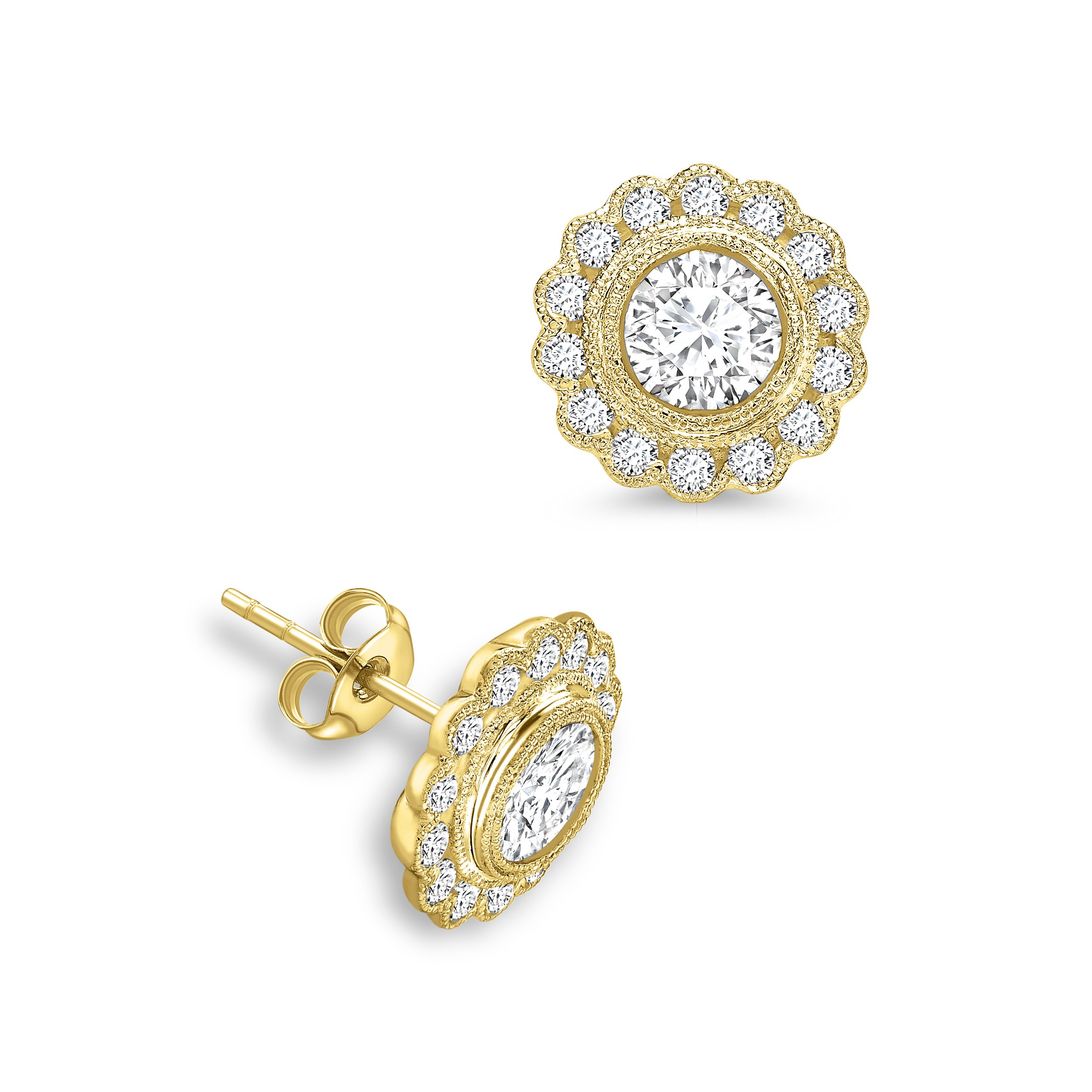 2451d1871 Round Shape Flower Style Designer Diamond Earrings Available in White,  Yellow, Rose Gold and