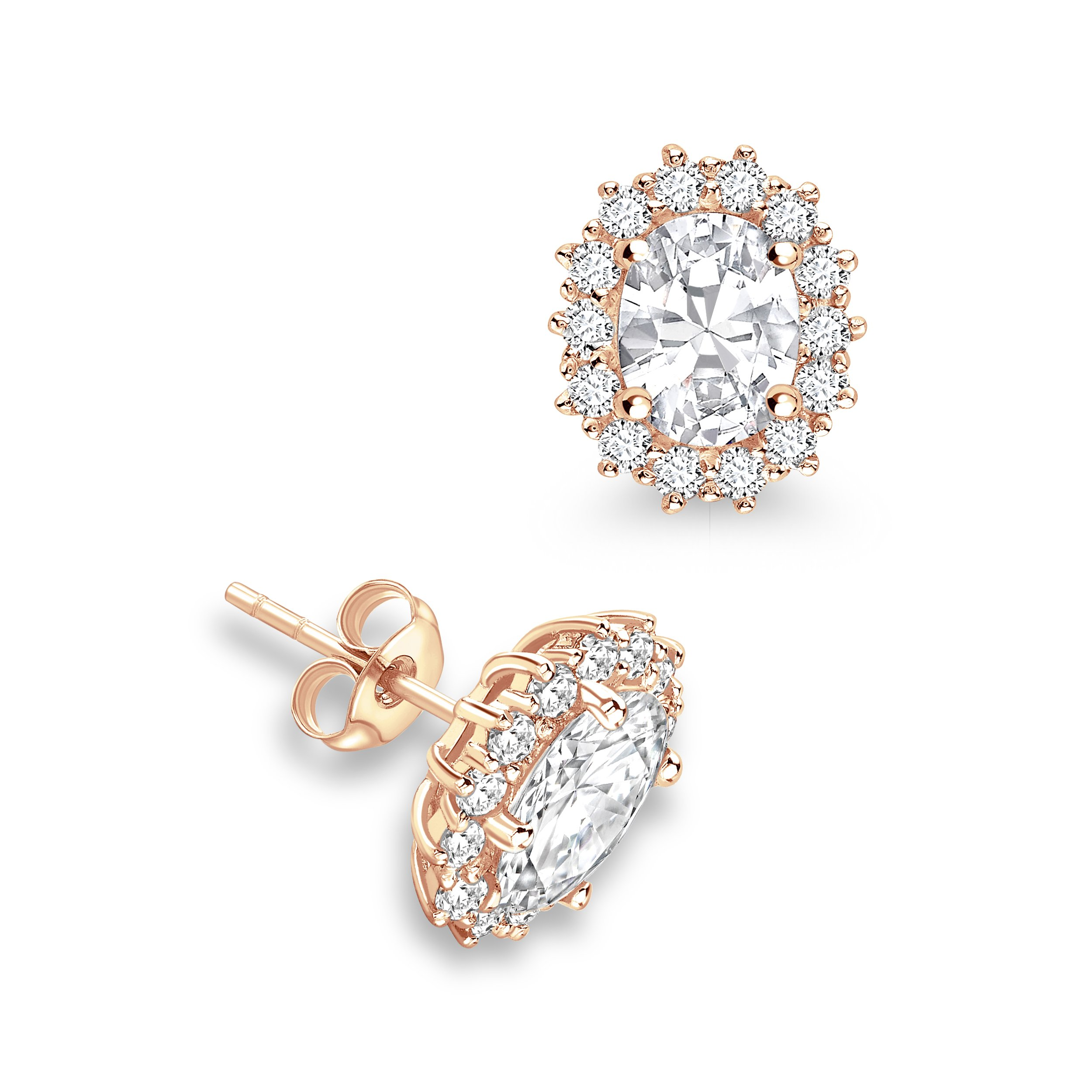 Prong Setting Oval Shape Halo Diamond Earrings Available in White, Yellow, Rose Gold and Platinum