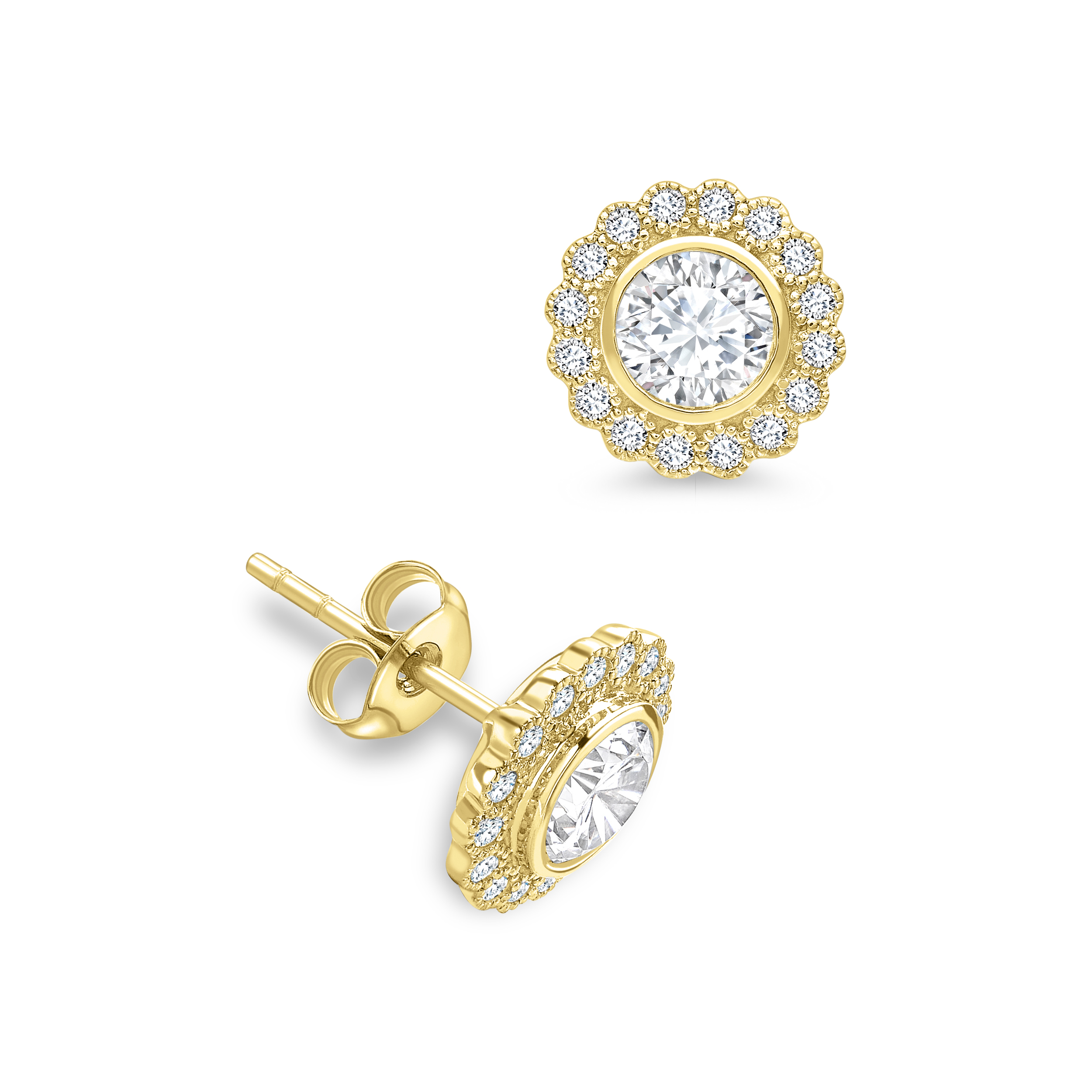 Round Shape Milligrain Halo Diamond Earrings Available in White, Yellow, Rose Gold and Platinum