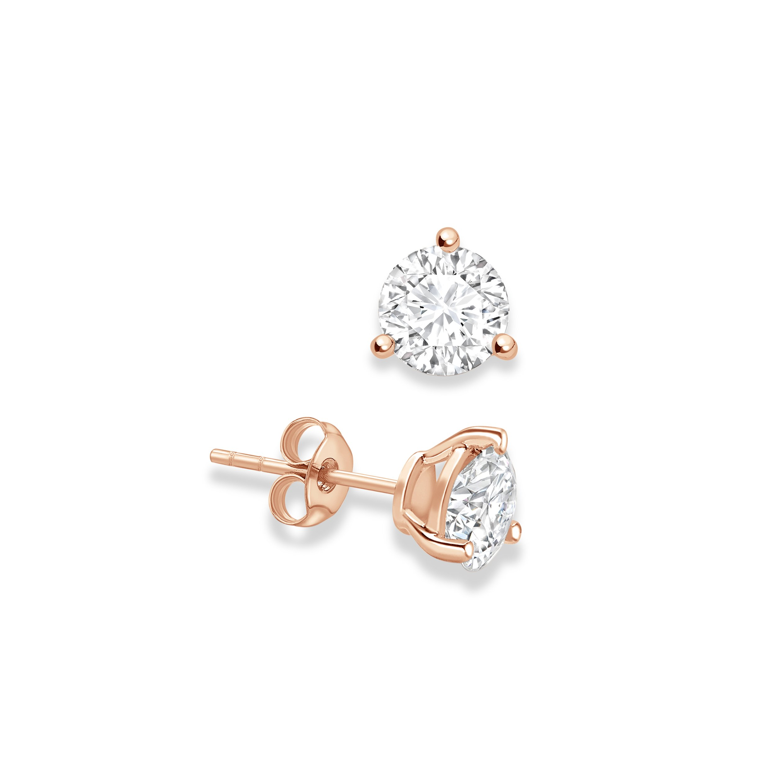 f8ece72ff42 3 Claws Classic Design Round Stud Diamond Earrings Available in Rose