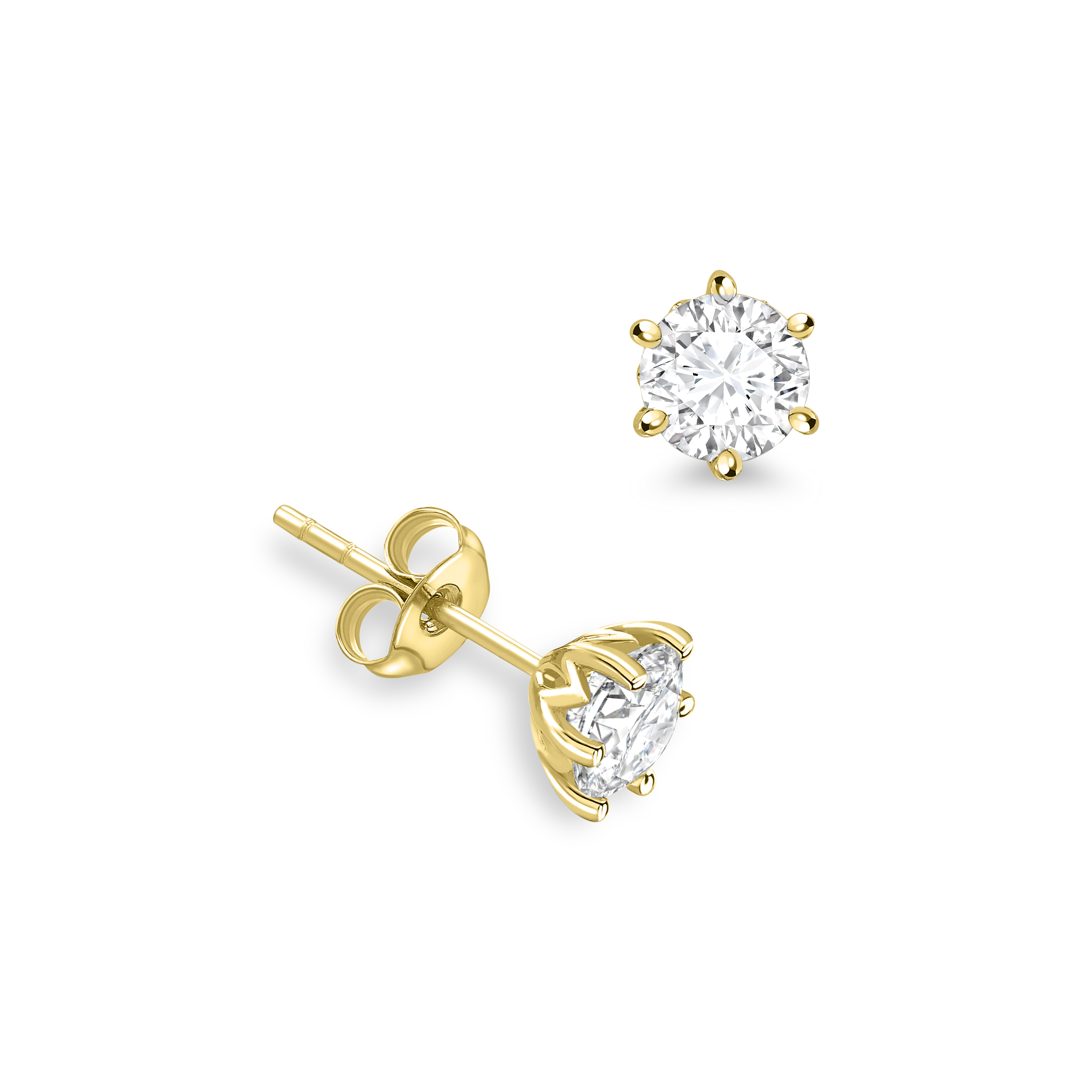6 Claws Round Shape Crown Stud Diamond Earrings Available in White, Yellow, Rose Gold and Platinum
