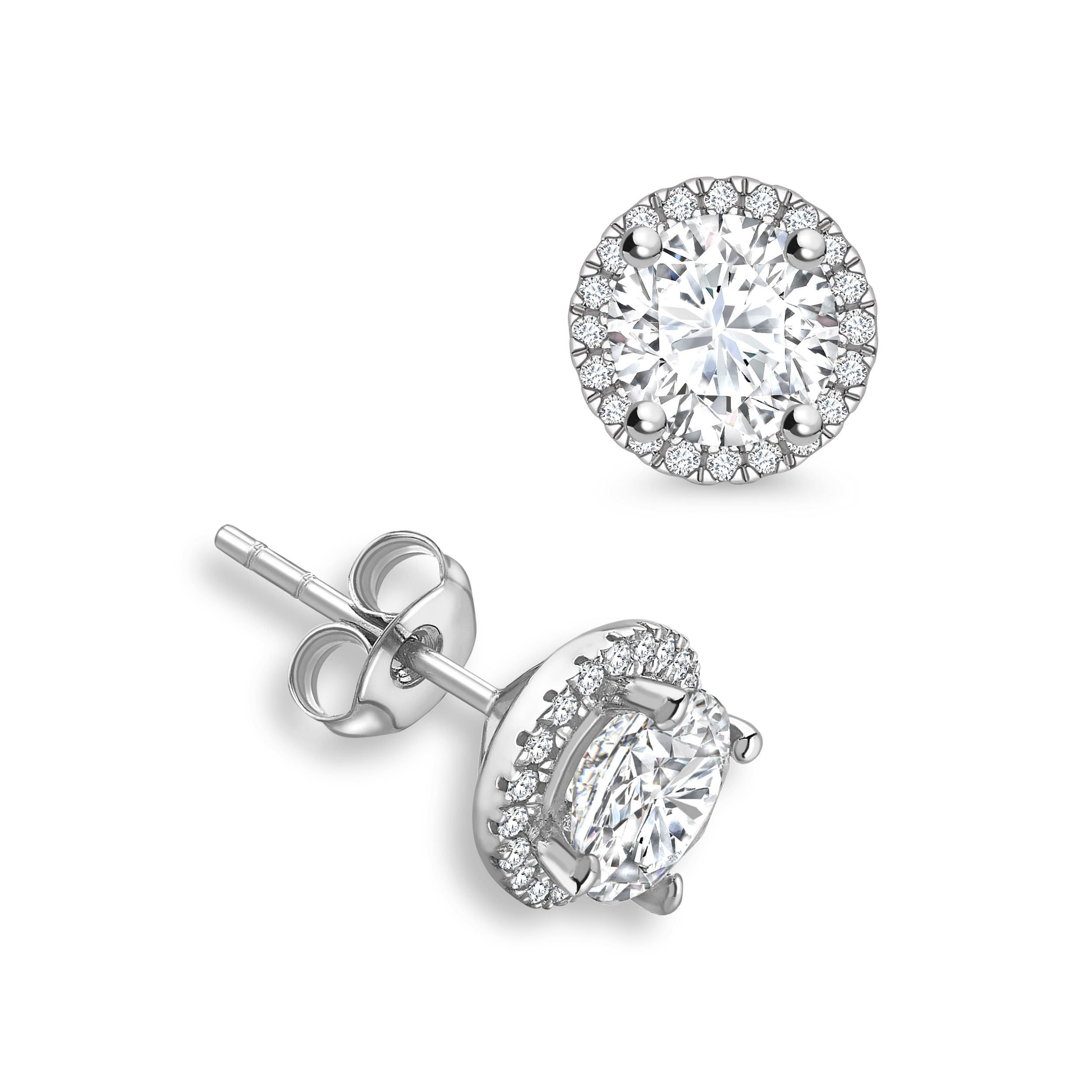Round Diamond Halo Diamond Earrings Available in Rose, Yellow, White Gold and Platinum