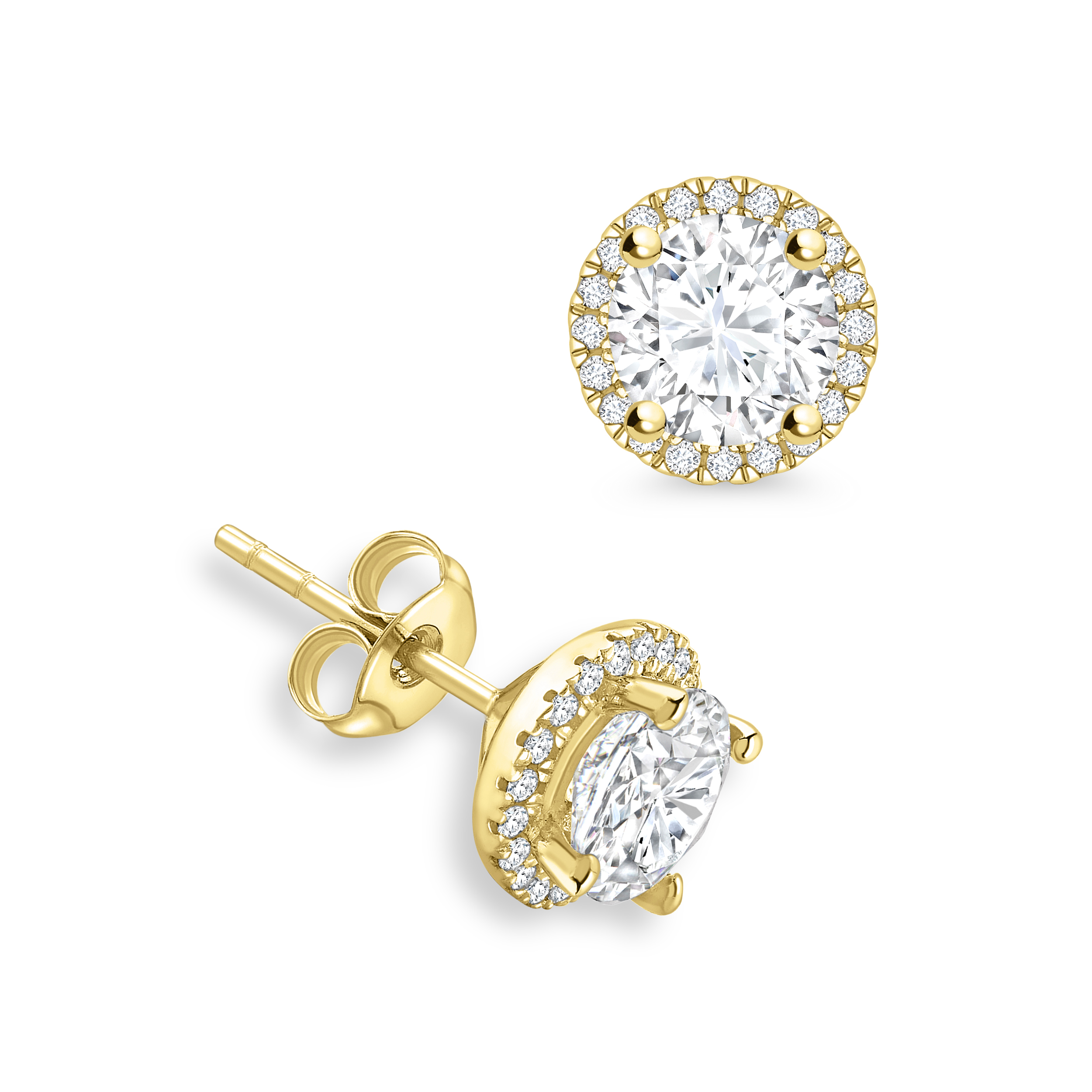 c09da9fe95c Round Diamond Halo Diamond Earrings Available in Rose
