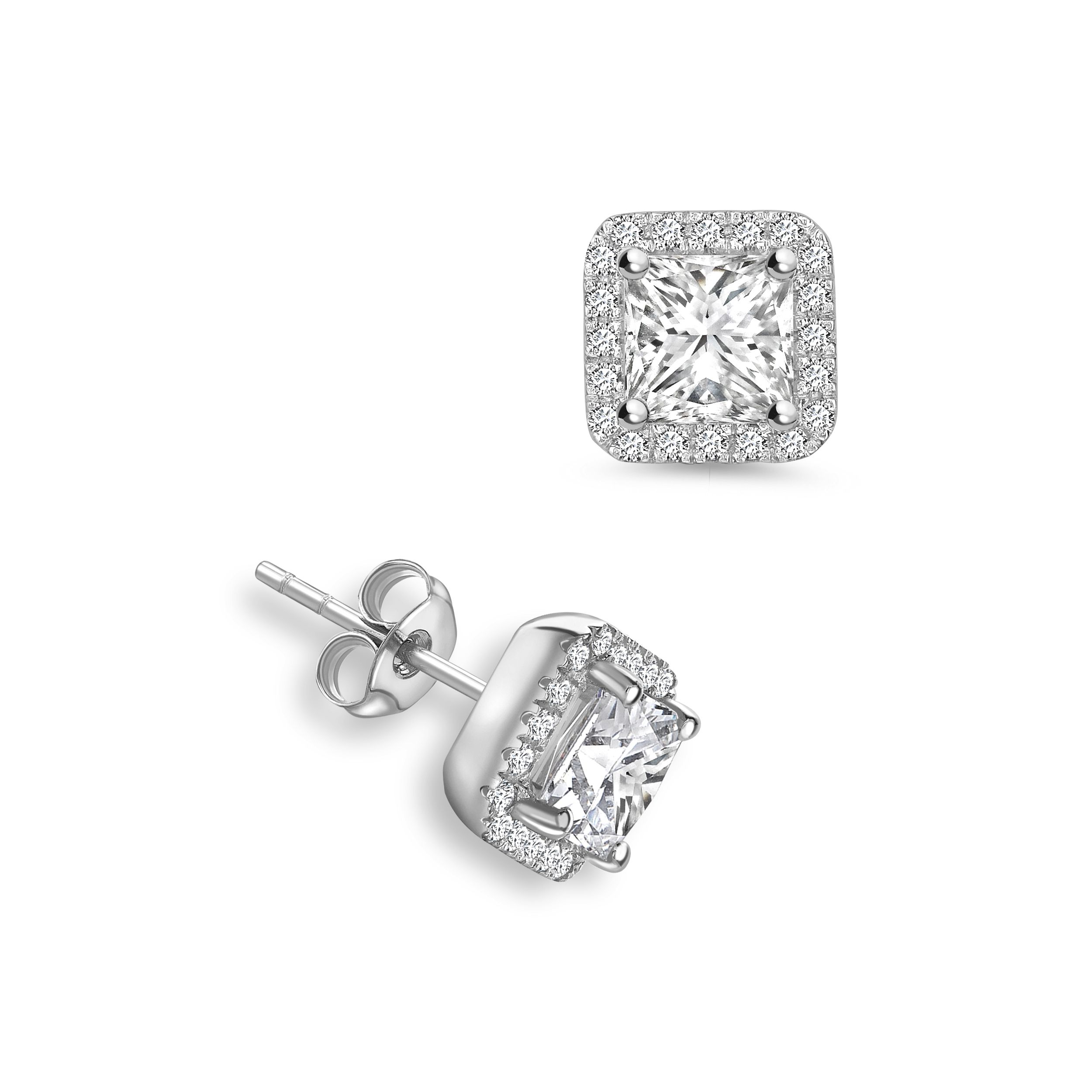 Princess Shape Square Diamond Halo Diamond Earrings Available in Rose, Yellow, White Gold and Platinum