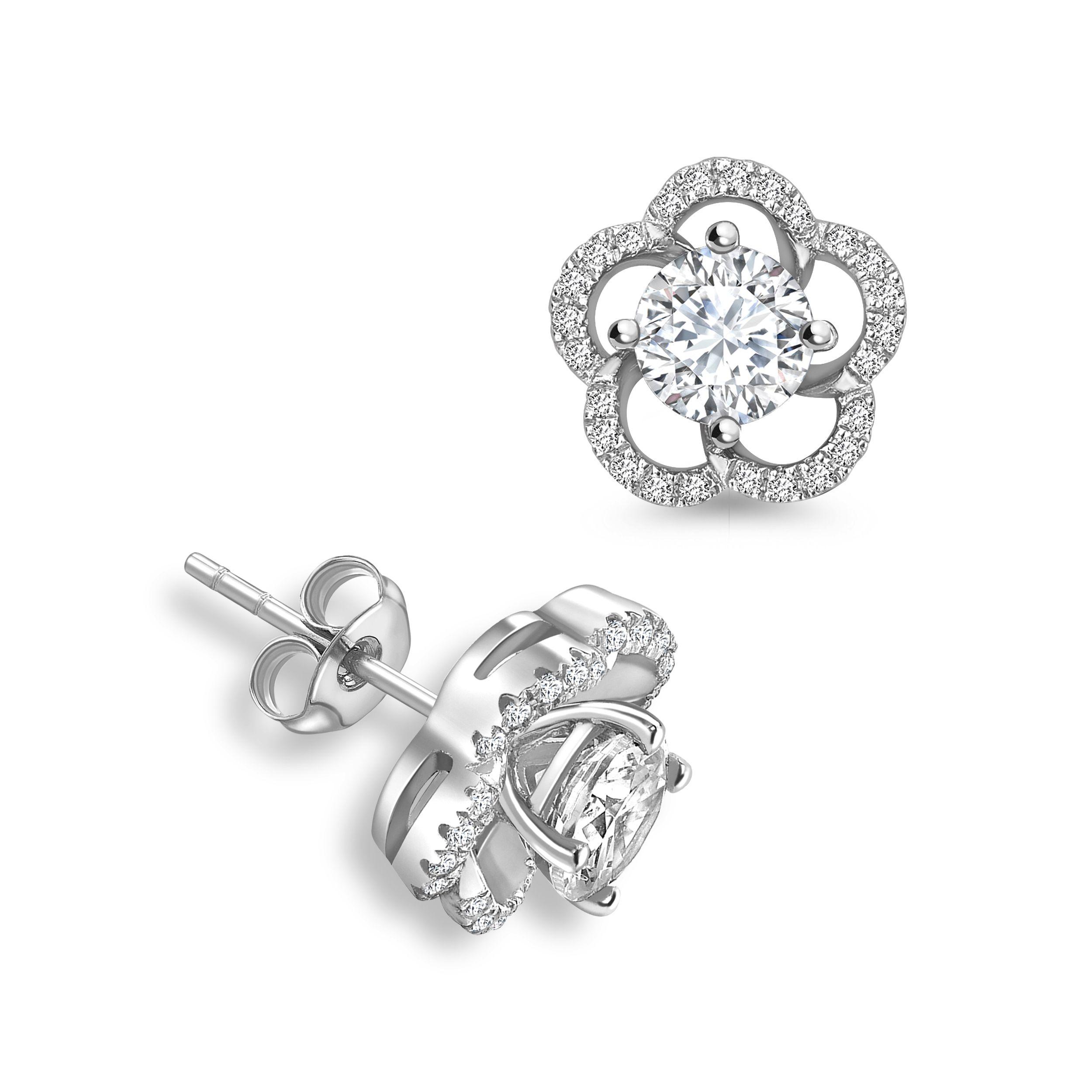 Round Jacket & Stud Halo Diamond Earrings Rose, Yellow, White Gold and Platinum