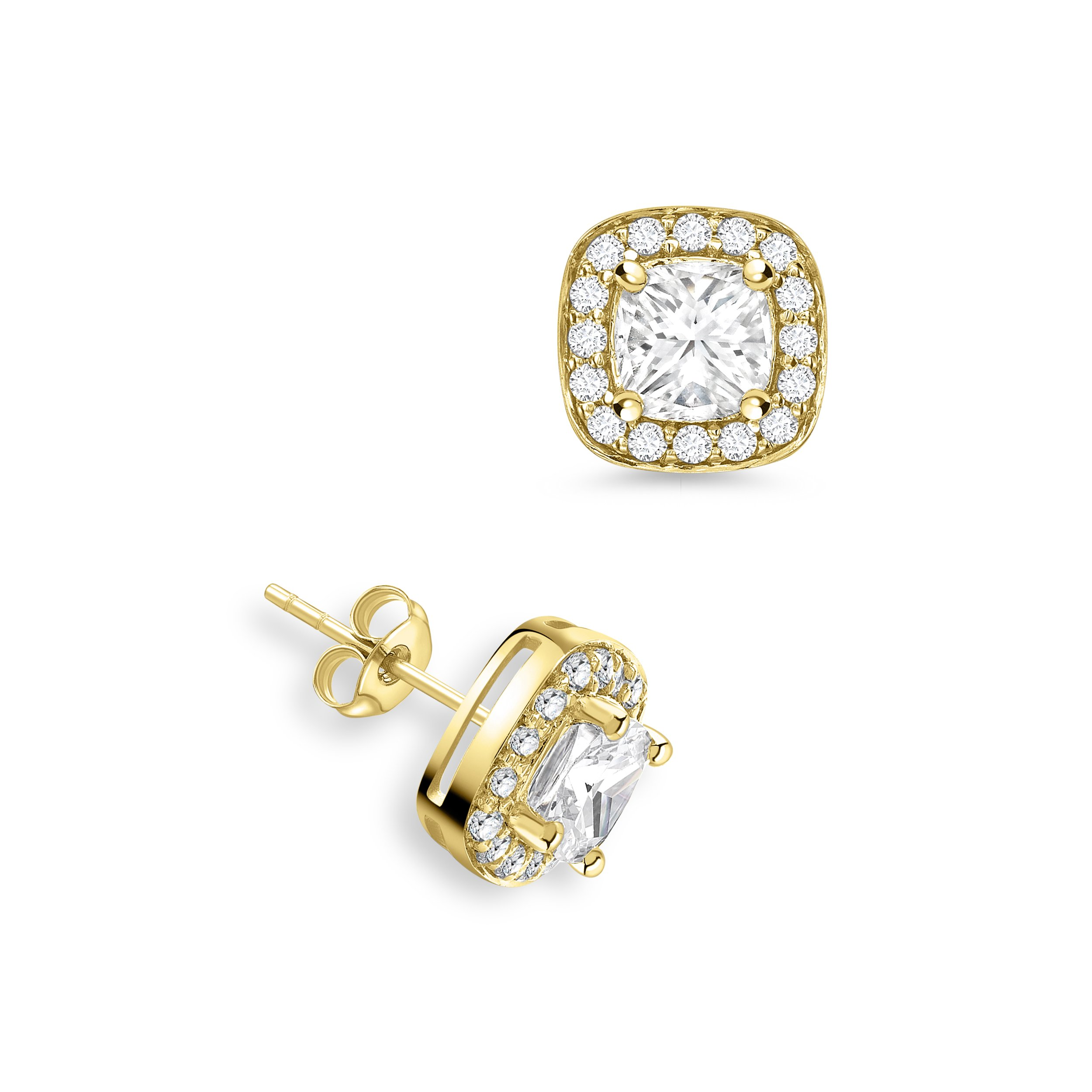 Cushion Shape Diamond Halo Diamond Earrings Available in Rose, Yellow, White Gold and Platinum