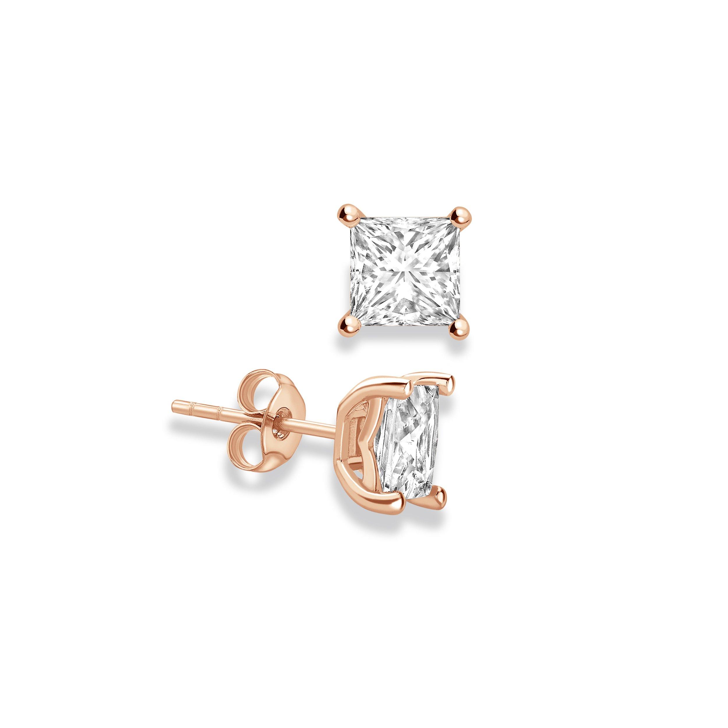 Princess Shape Stud Diamond Earrings Abelini