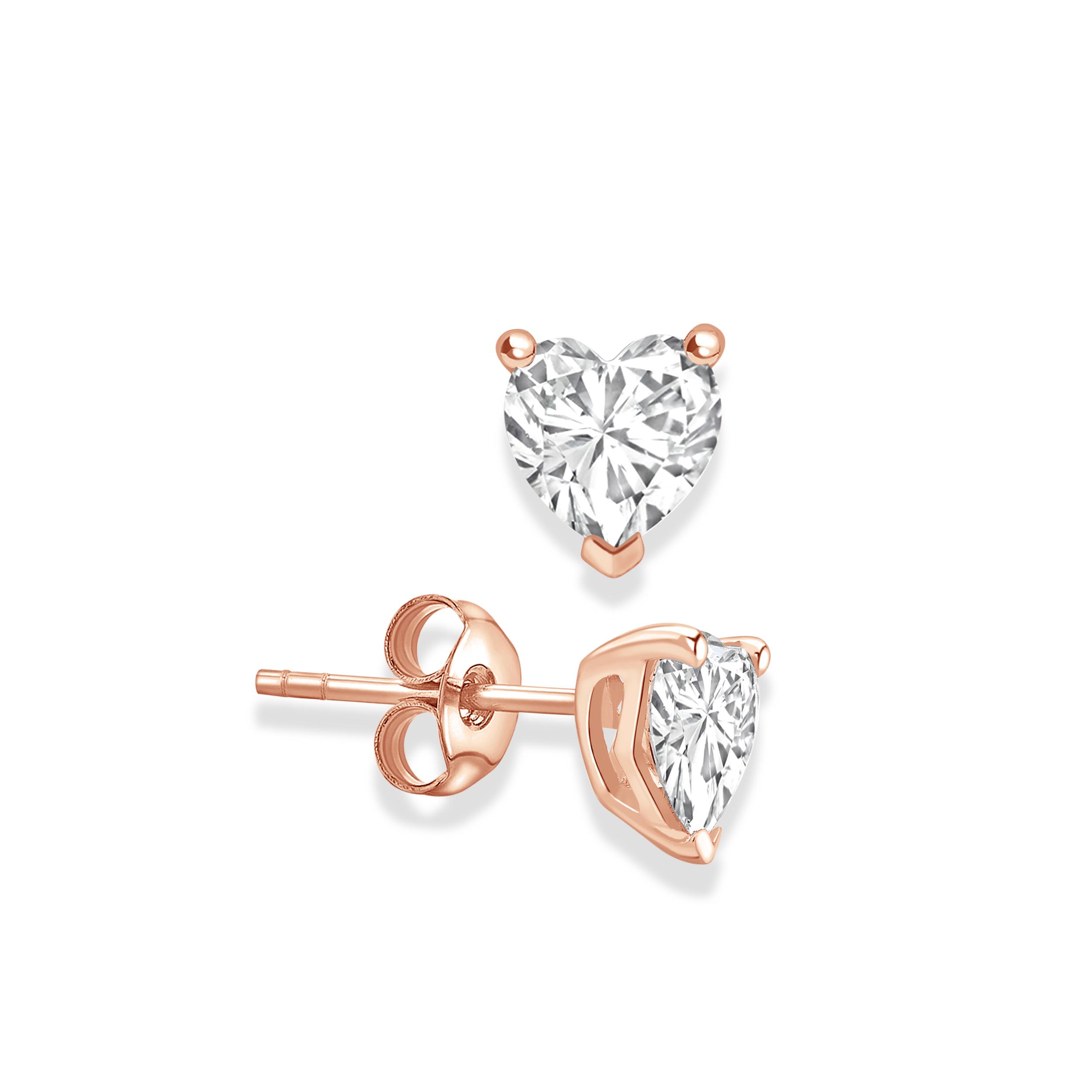 Heart Shape Stud Diamond Earrings Rose, Yellow, White Gold and Platinum