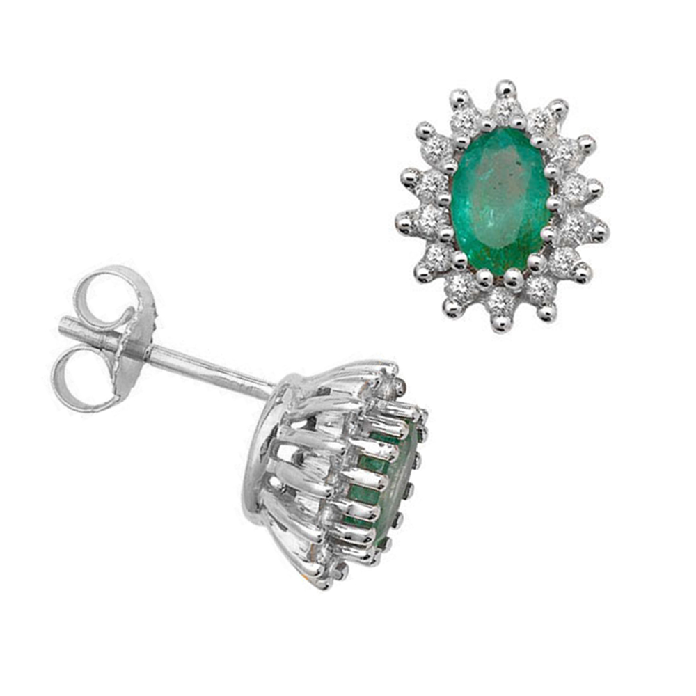 Oval Shape Emerald Gemstone Birthstone Earrings for May