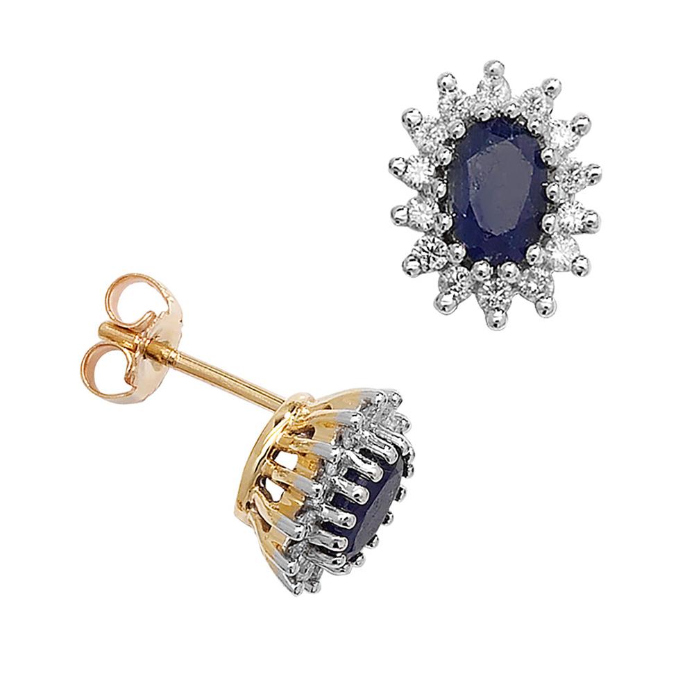 Oval Shape Blue Sapphire Gemstone Birthstone Earrings for September