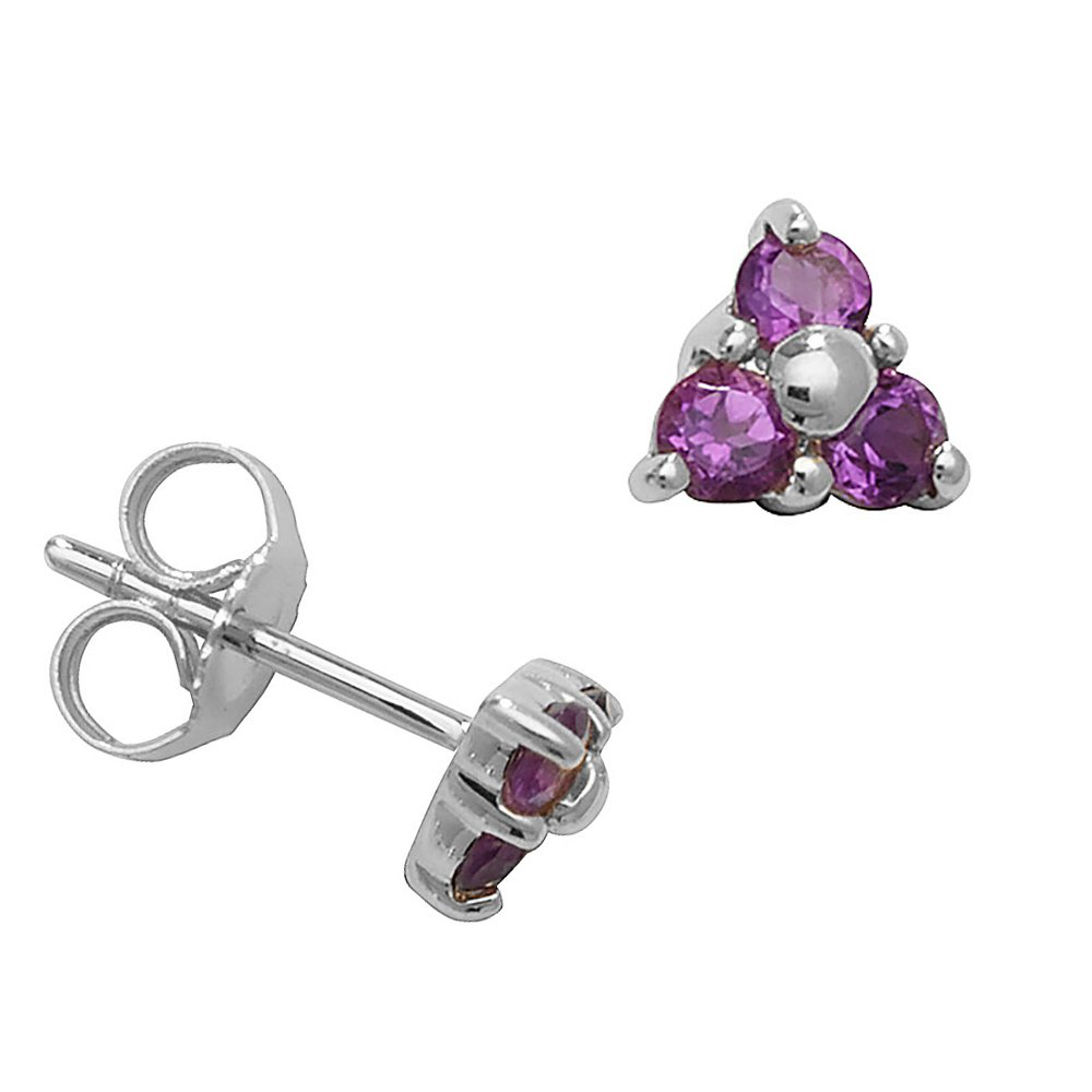 Round Shape Three Stone Cluster Amethyst Gemstone Earrings
