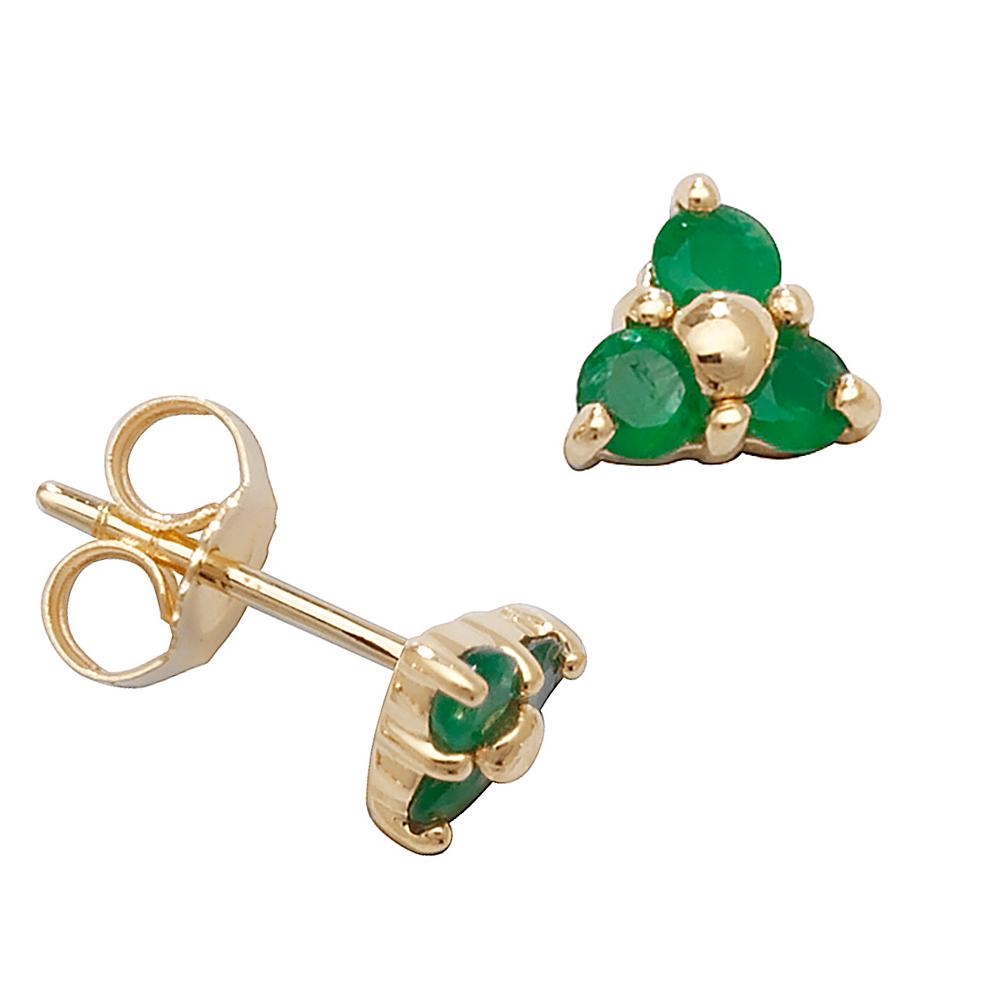 Round Shape Three Stone Cluster Emerald Gemstone Earrings