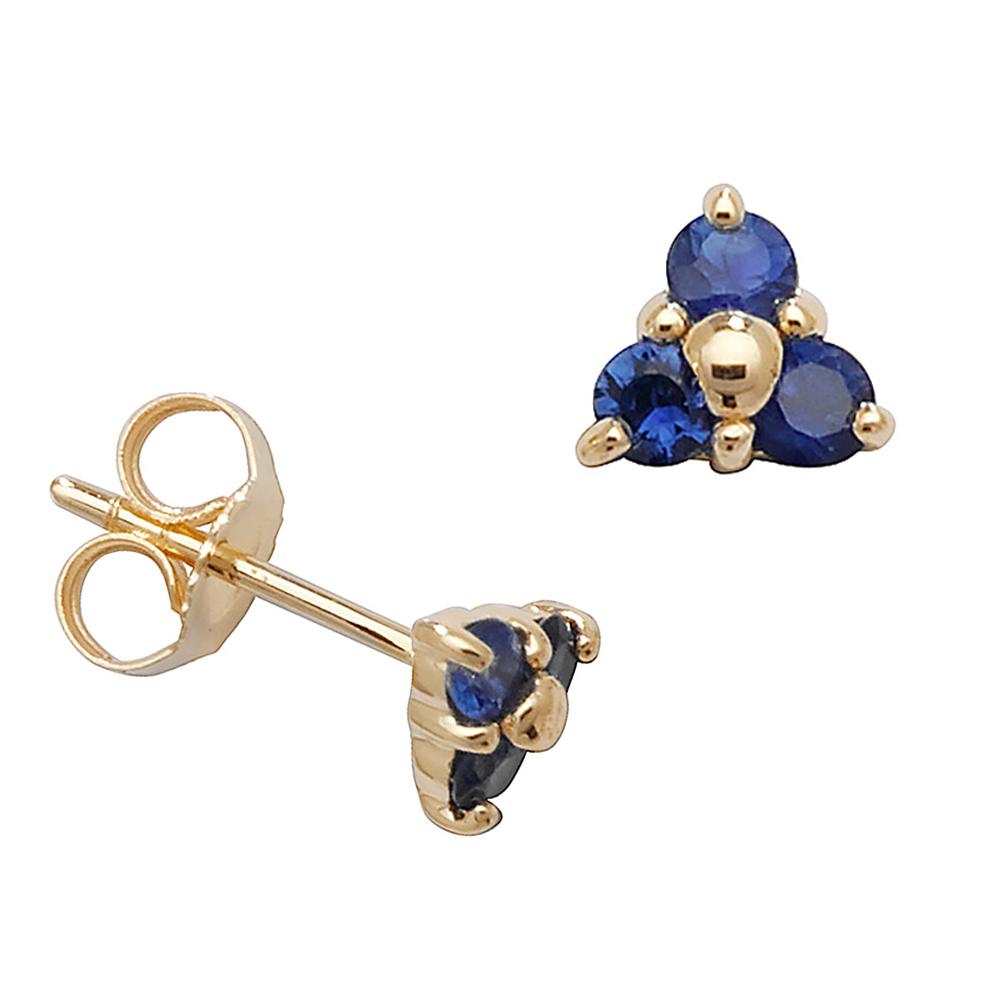 Round Shape Three Stone Cluster Blue Sapphire Gemstone Earrings