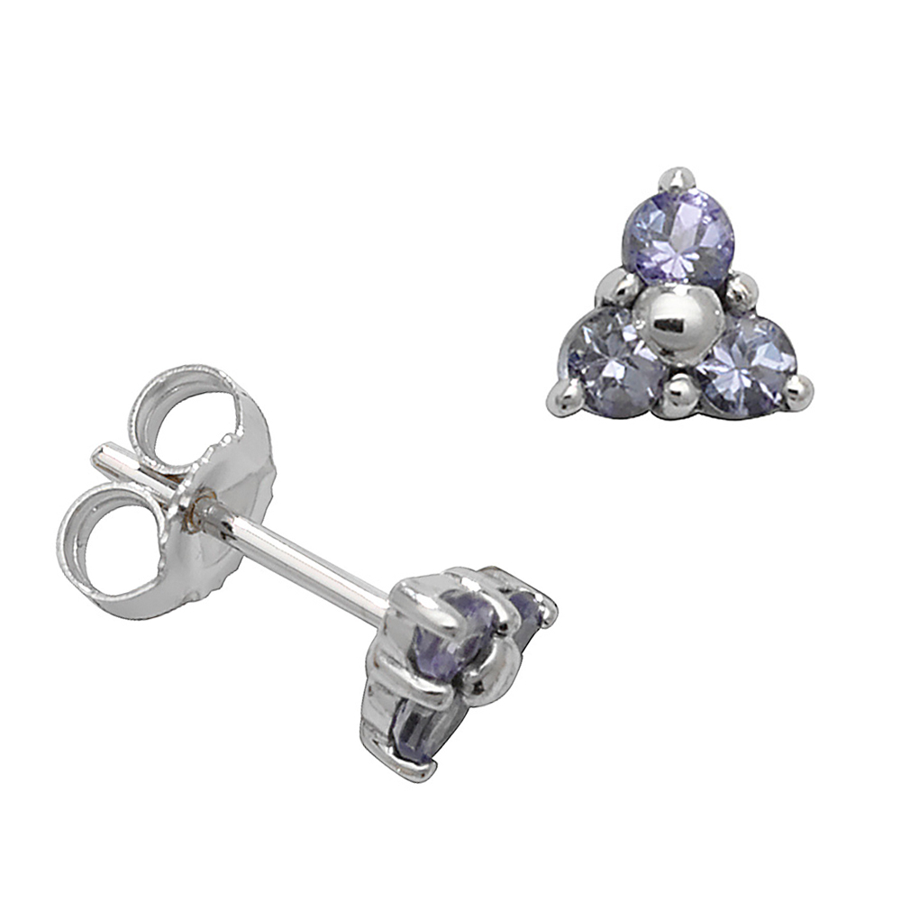 Round Shape Three Stone Cluster Tanzanite Gemstone Earrings
