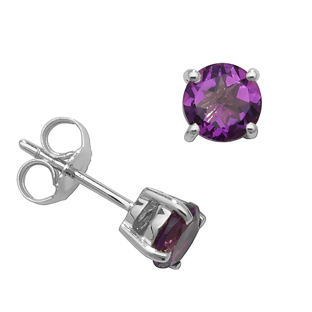 Round Shape Classic 4 Claws 5.0mm Amethyst Gemstone Earrings