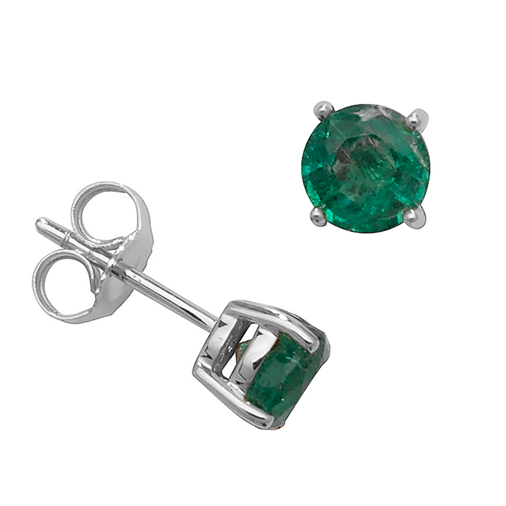 Round Shape Classic 4 Claws 5.0mm Emerald Gemstone Earrings
