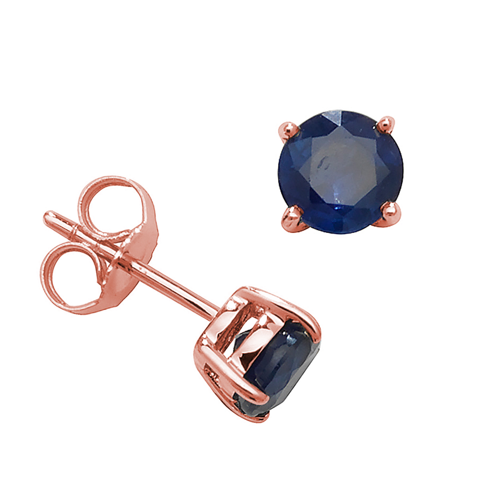 Round Shape Classic 4 Claws 5.0mm Blue Sapphire Gemstone Earrings