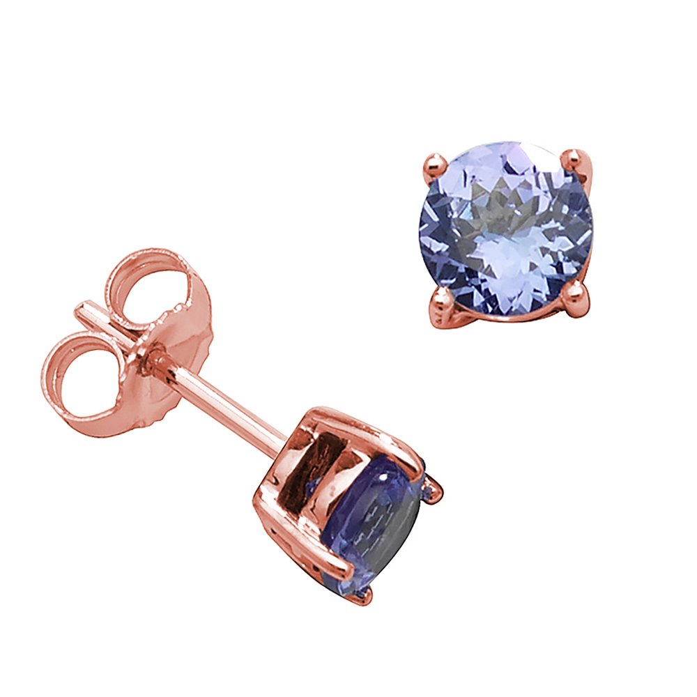 Round Shape Classic 4 Claws 5.0mm Tanzanite Gemstone Earrings