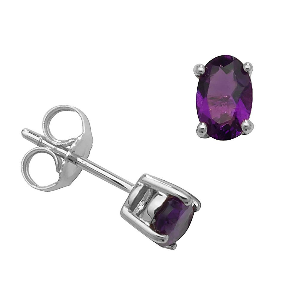 Oval Shape 4 Claw Basket 6 X 4mm Amethyst Gemstone Earrings