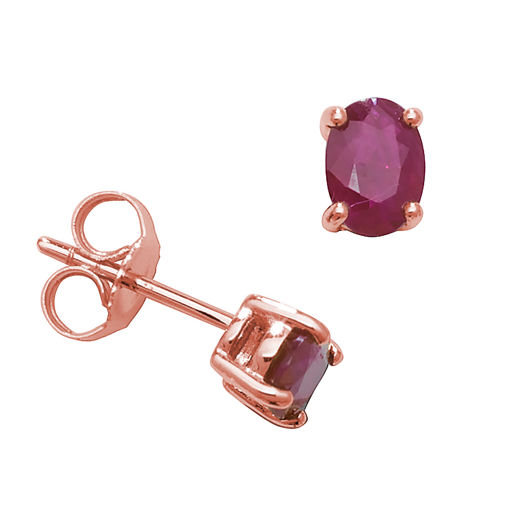 Oval Shape 4 Claw Basket 6 X 4mm Ruby Gemstone Earrings