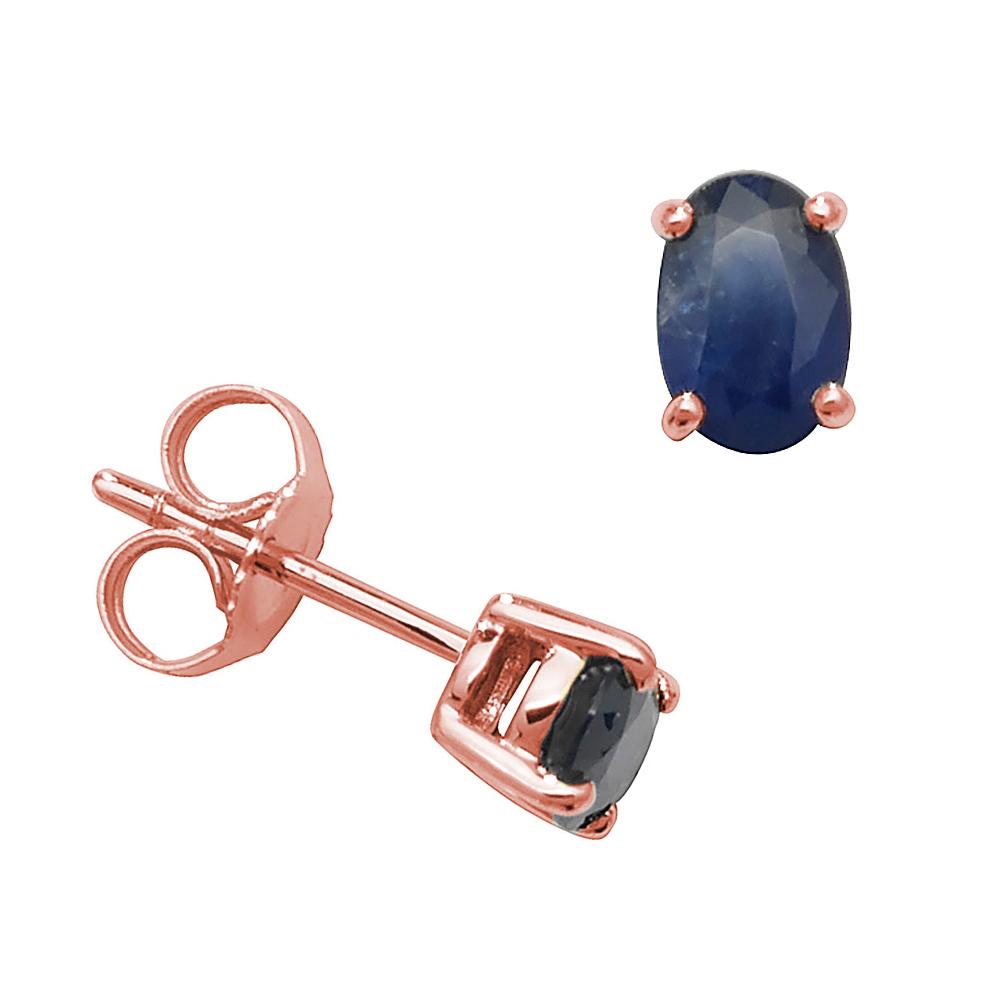 Oval Shape 4 Claw Basket 6 X 4mm Blue Sapphire Gemstone Earrings