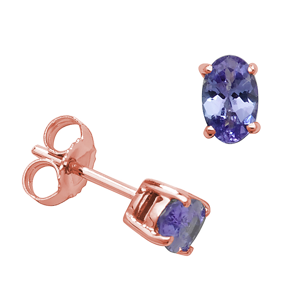 Oval Shape 4 Claw Basket 6 X 4mm Tanzanite Gemstone Earrings
