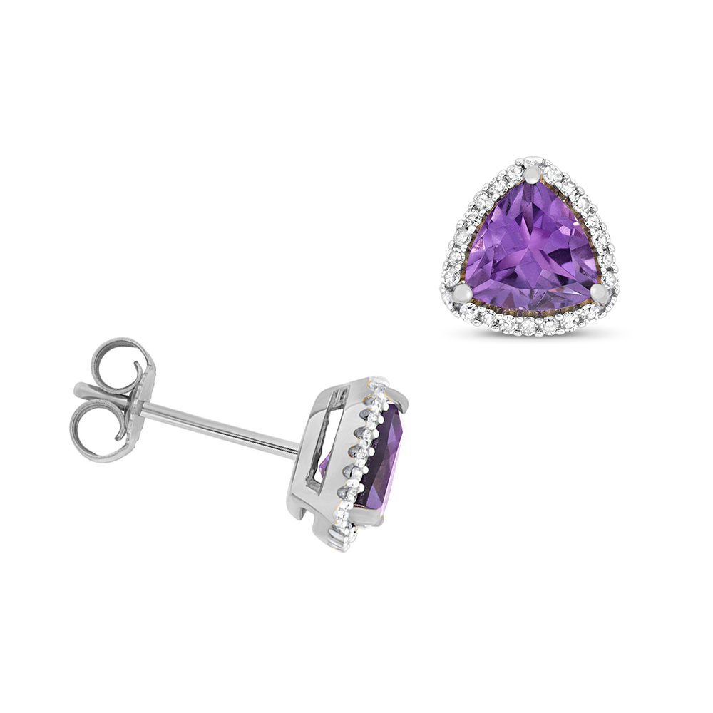 Trillion Shape Halo Diamond and 6.0mm Amethyst Gemstone Earrings