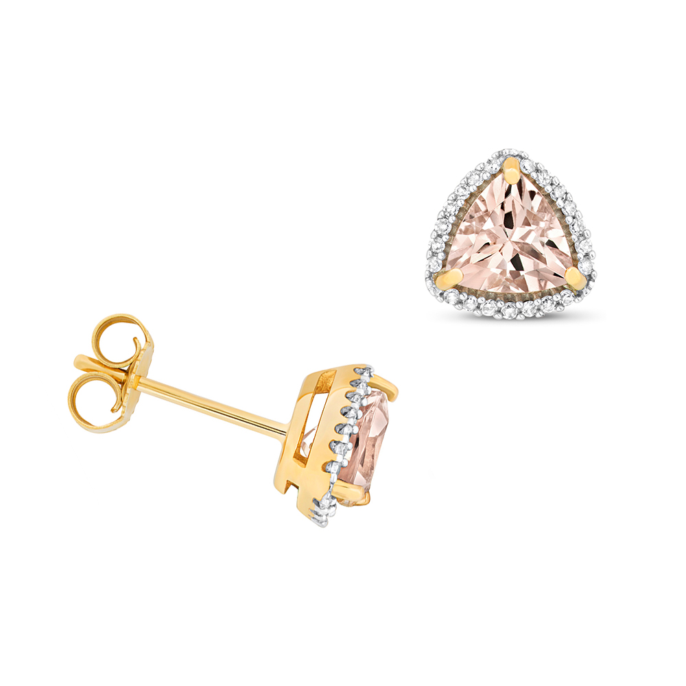 Trillion Shape Halo Diamond and 6.0mm Morganite Gemstone Earrings