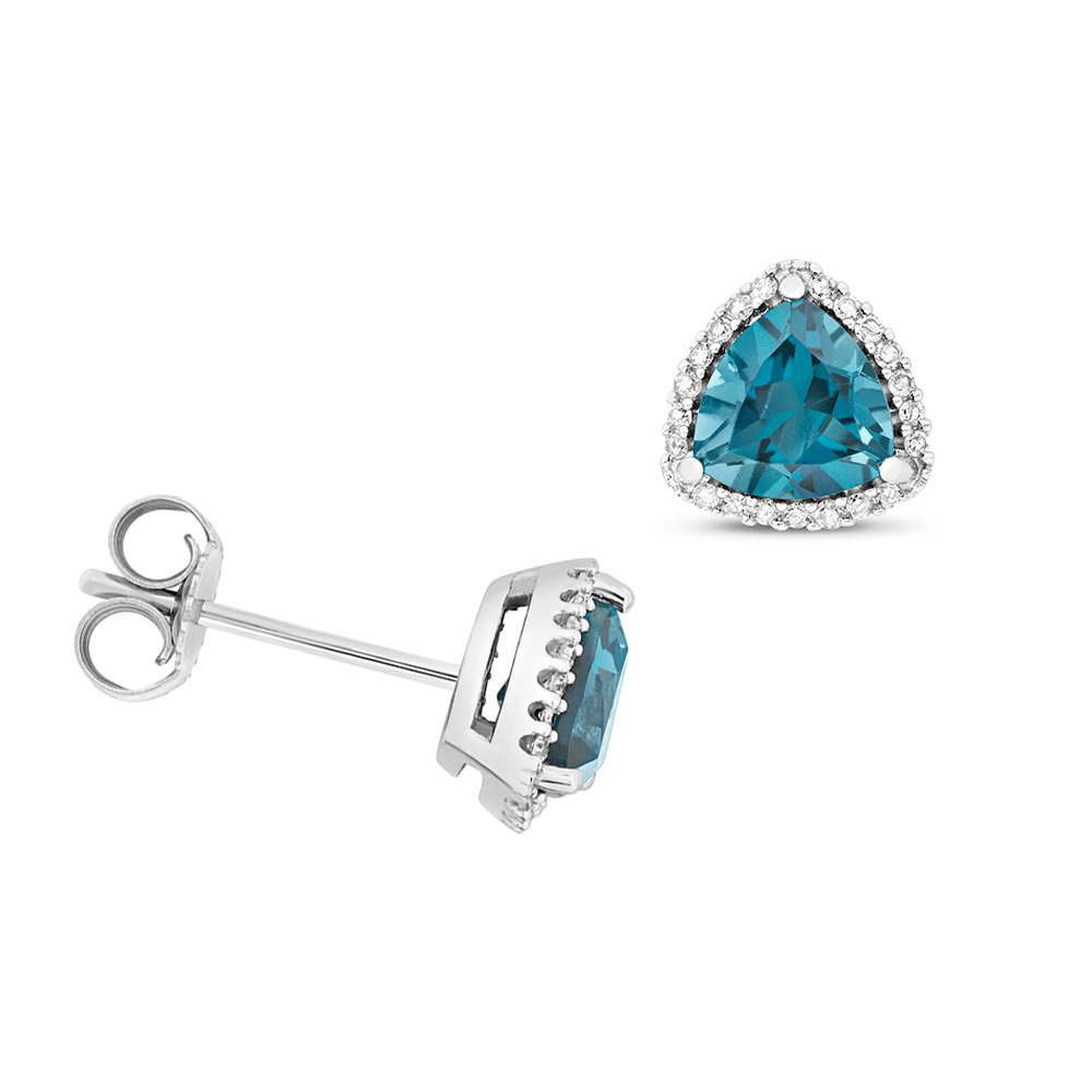 Trillion Shape Halo Diamond and 6.0mm Blue Topaz Gemstone Earrings