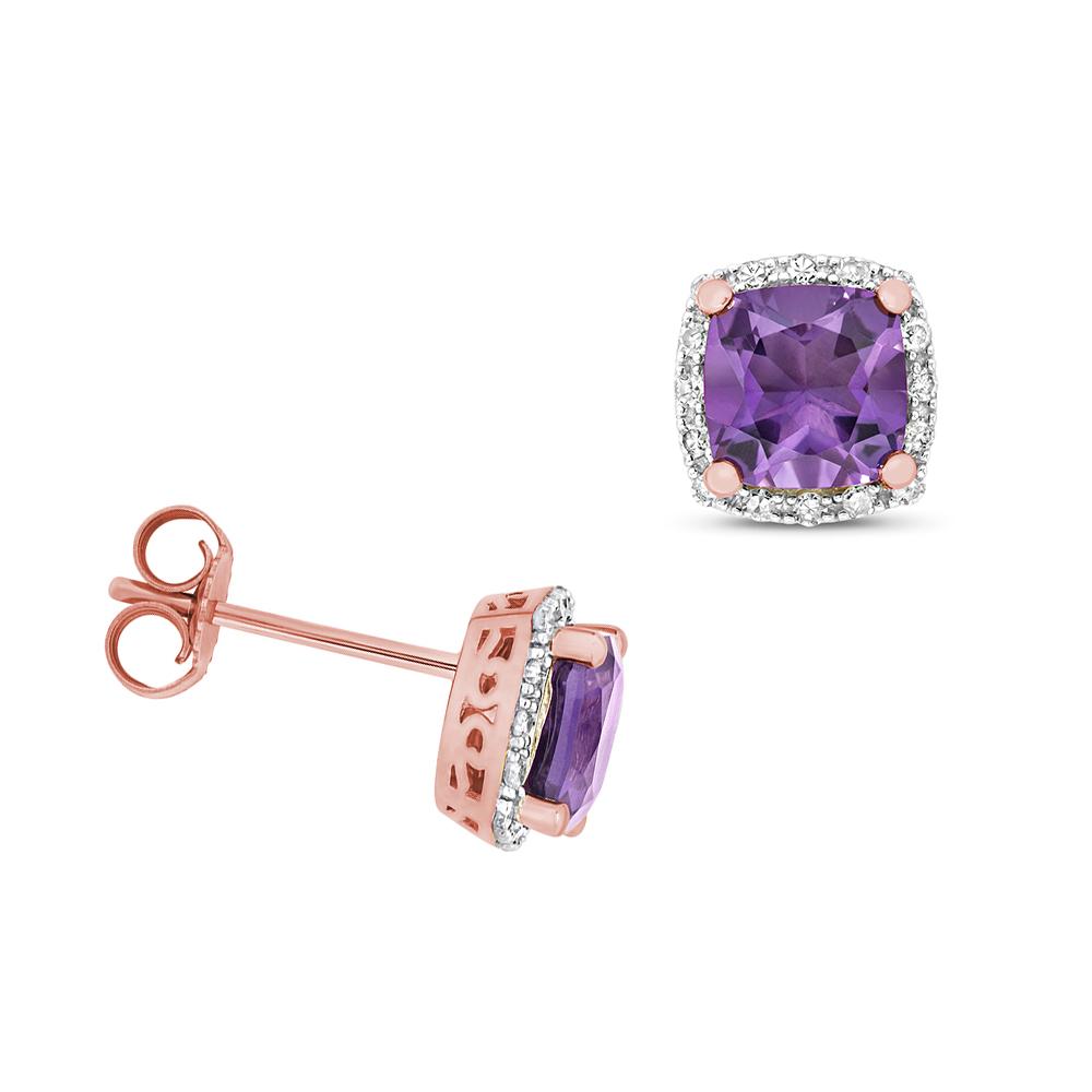 Cushion Shape Halo Diamond and 6.0mm Amethyst Gemstone Earrings