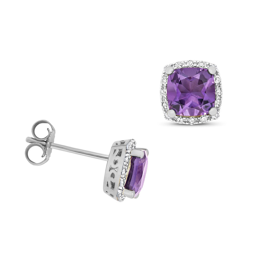 Cushion Shape Halo Diamond and 6.0mm Amethyst Gemstone Earrings