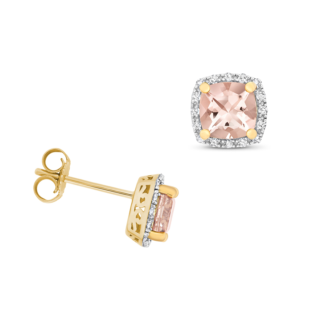 Cushion Shape Halo Diamond and 6.0mm Morganite Gemstone Earrings