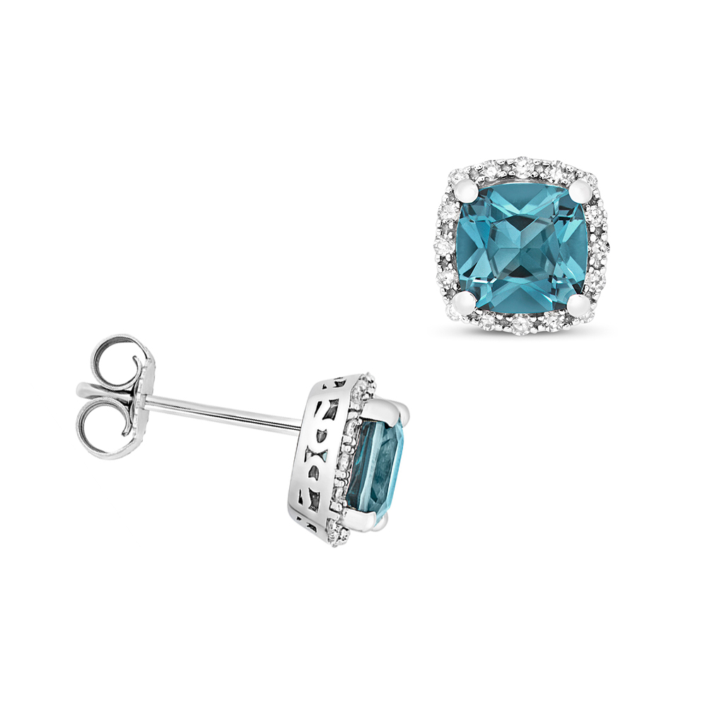 Cushion Shape Halo Diamond and 6.0mm Blue Topaz Gemstone Earrings