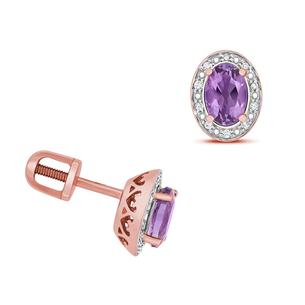 Oval Shape Halo Diamond and 6 X 4mm Amethyst Gemstone Earrings