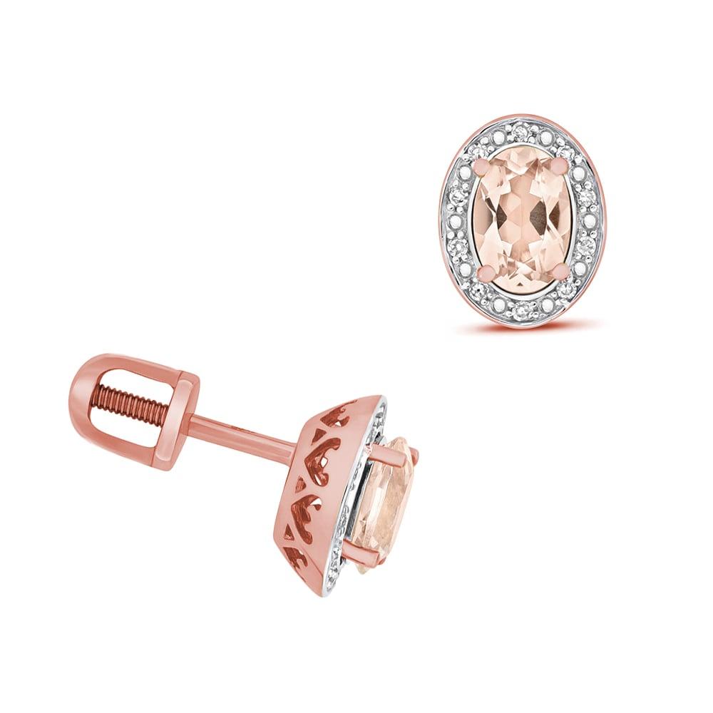 Oval Shape Halo Diamond and 6 X 4mm Morganite Gemstone Earrings