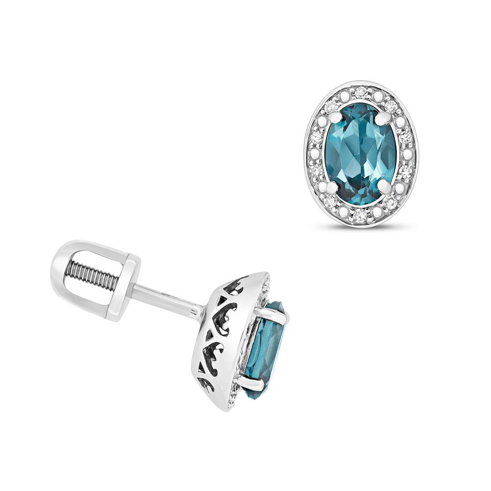 Oval Shape Halo Diamond and 6 X 4mm Blue Topaz Gemstone Earrings