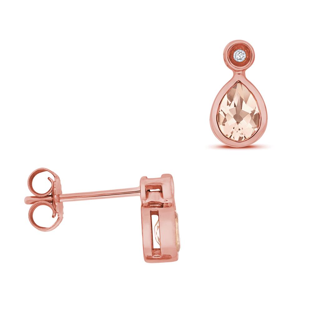 Pear Shape Drop Diamond and 5 X 4mm Morganite Gemstone Earrings