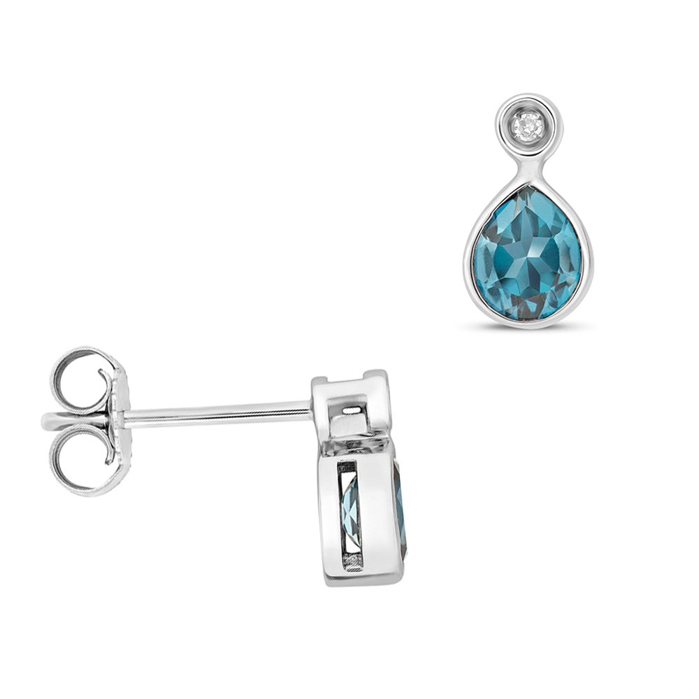 Pear Shape Drop Diamond and 5 X 4mm Blue Topaz Gemstone Earrings