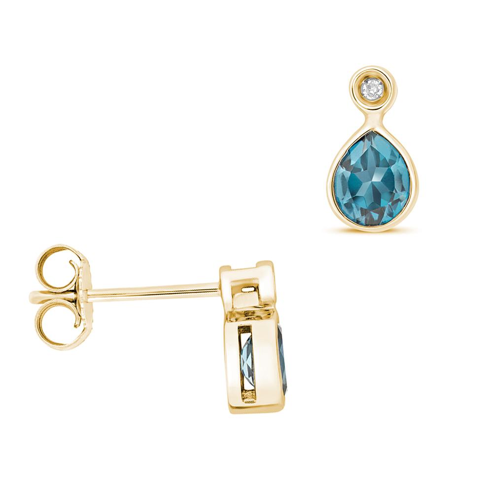 Pear Shape Drop Diamond and 5 X 4mm Blue Topaz Gemstone Earrings