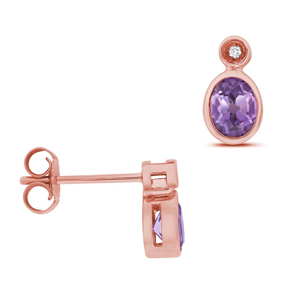 Oval Shape Drop Diamond and 5 X 4mm Amethyst Gemstone Earrings
