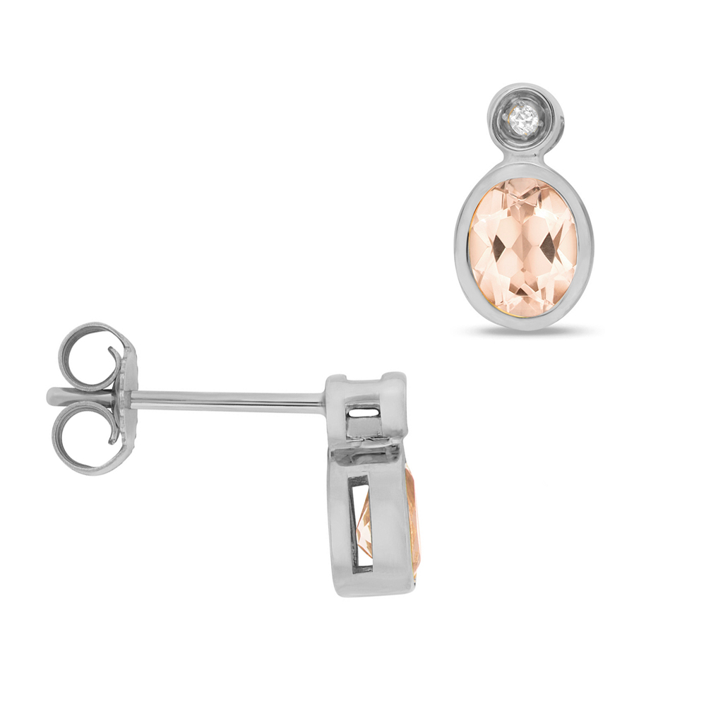 Oval Shape Drop Diamond and 5 X 4mm Morganite Gemstone Earrings