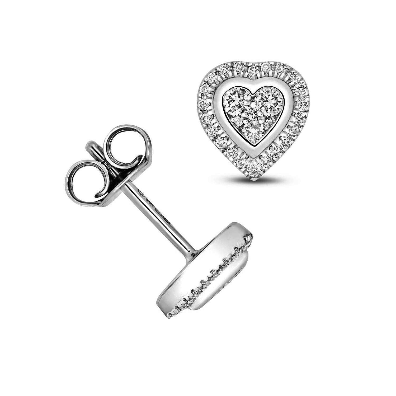 1/4 Carat Heart Shape Halo Diamond Cluster Earrings (7.0mmX7.0mm)