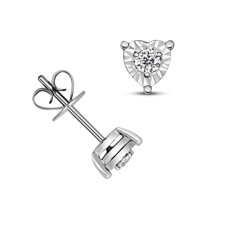 d3dd4a0915f0 1 10 Carat Heart Shape Illussion Setting Diamond Cluster Earrings  (6.0mmX6.0mm