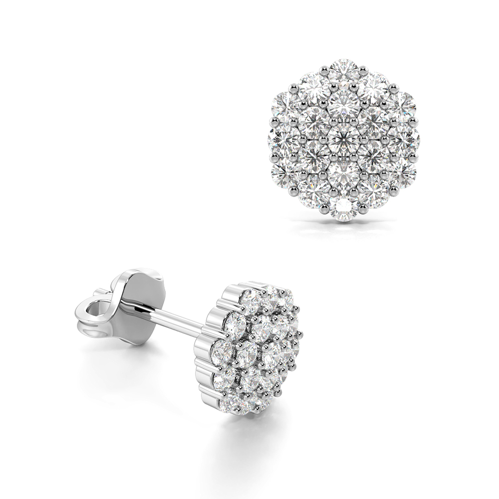 Pave Setting Round Cluster Diamond Earrings (6.30mm X 5.30mm)