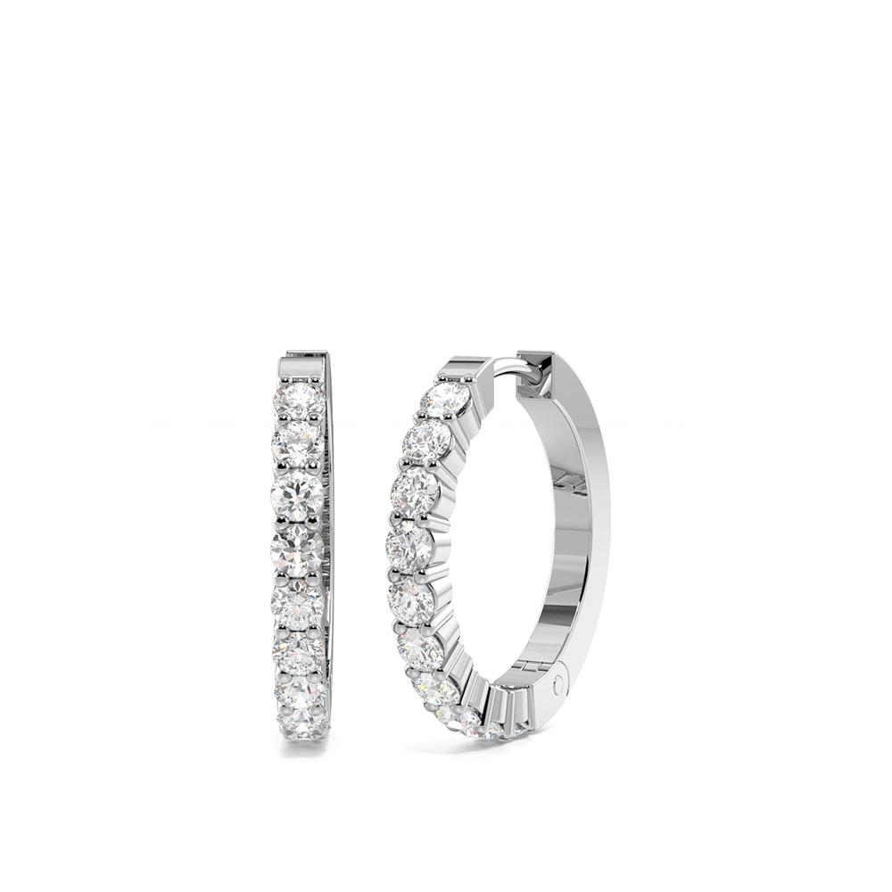 4 Prong Setting Round Diamond Ladies Hoop Earrings  (15.30mm)