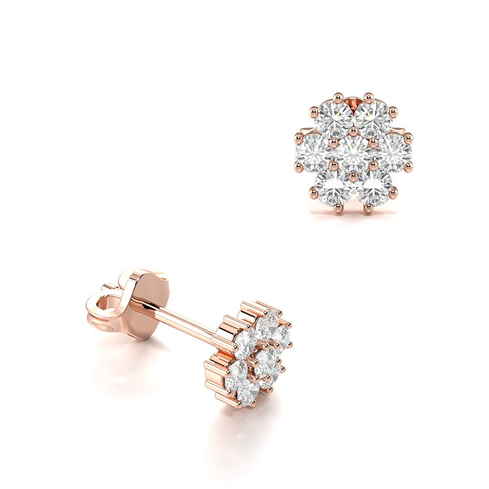 4 Prong Setting Round Diamond Cluster Earrings Available in Gold and Platinum (4.20mm)