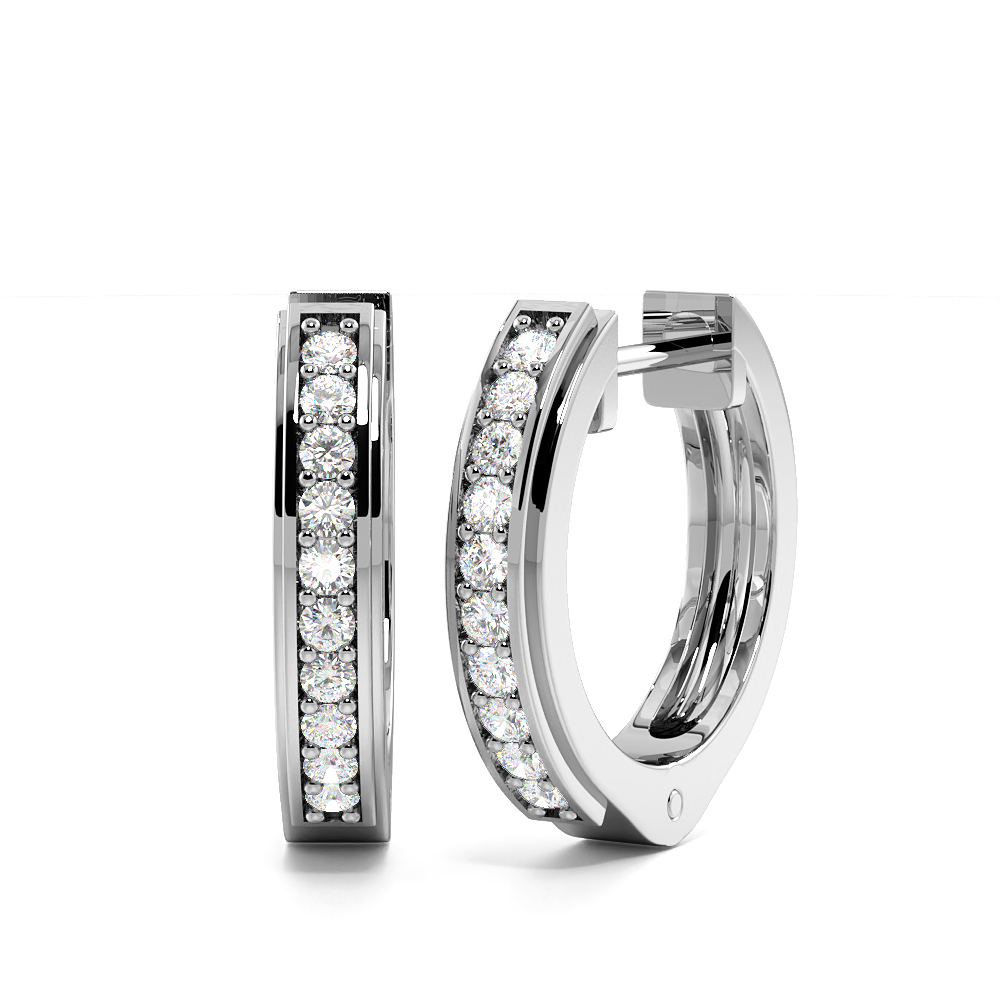 Pave Setting Round Diamond Hoop Earrings In Gold and Platinum (12.30mm)
